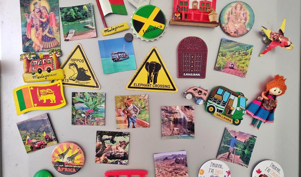 magnets de frigo avec photos de voyage