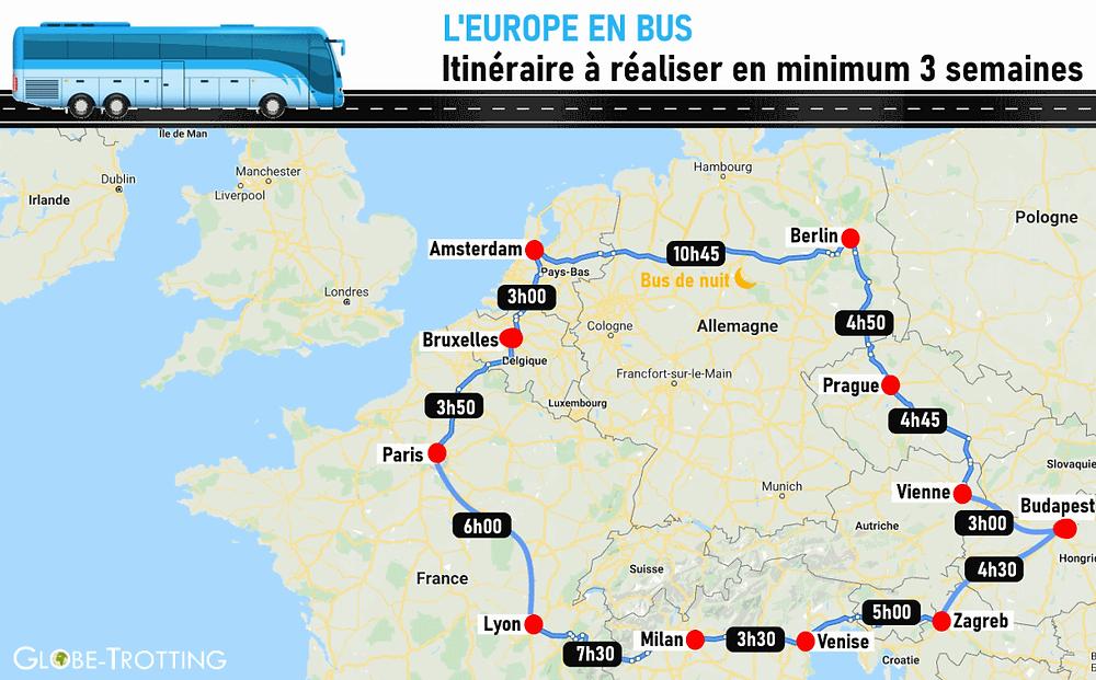 Itinéraire Europe en Bus