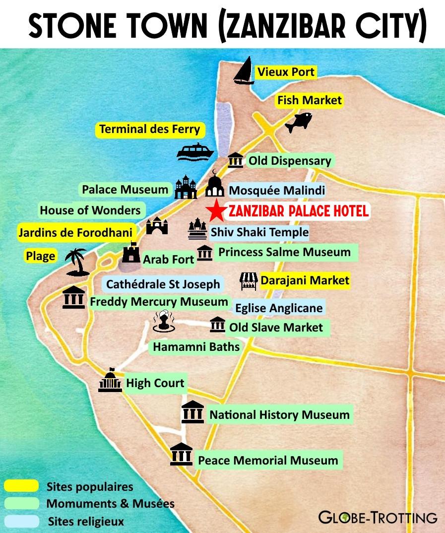 plan touristique de Stone Town