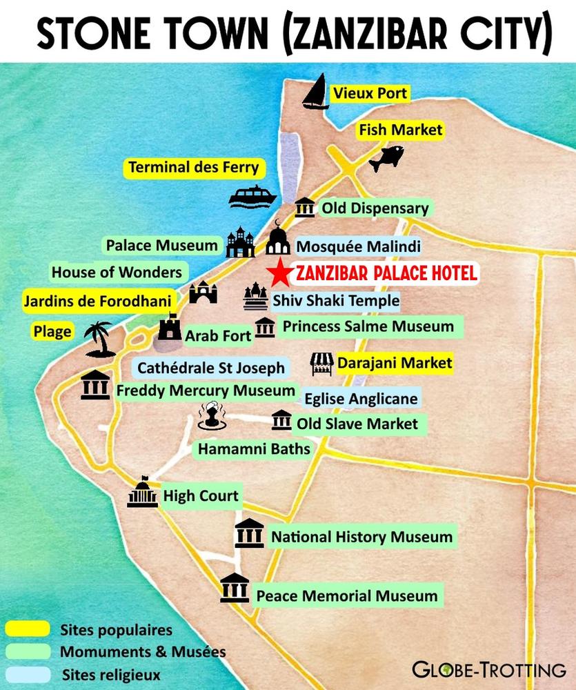 Plan de stone town zanzibar palace hotel