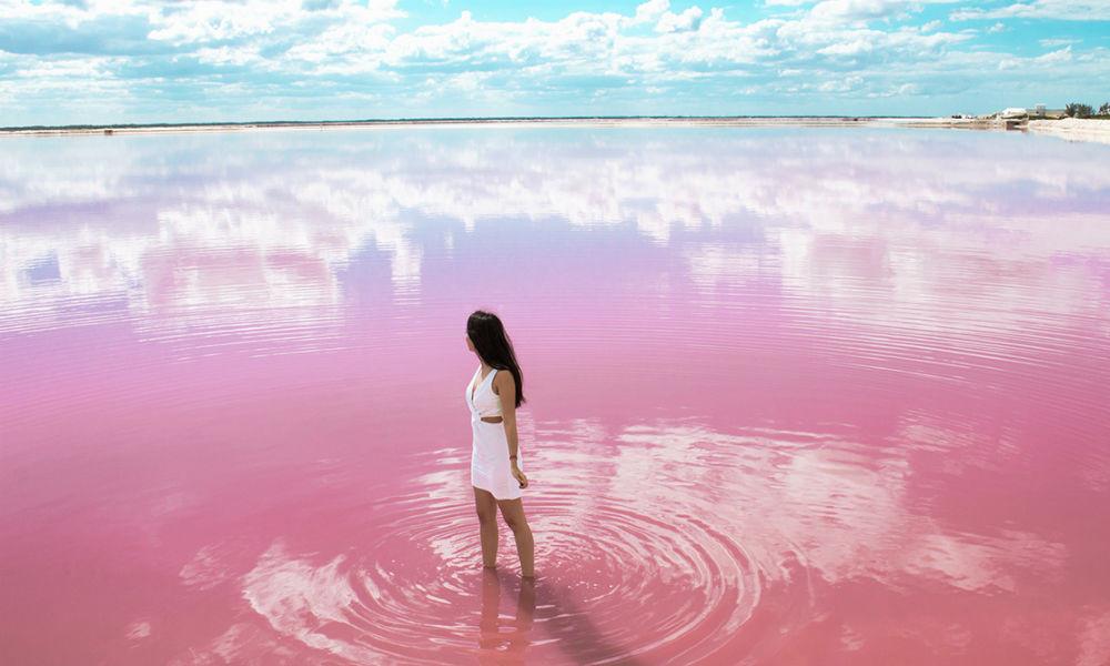 lagon rose du Yucatán au Mexique