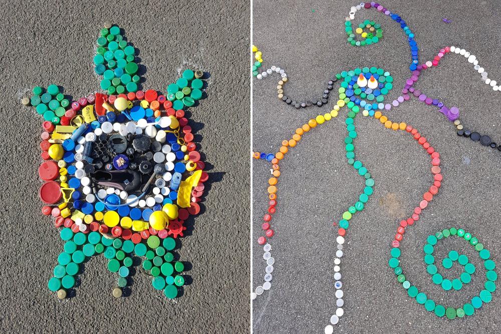 oeuvre d'art bouchons en plastique