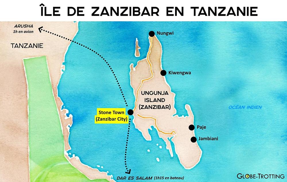 Zanzibar carte tanzanie