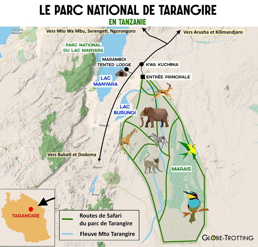 Plan du parc national de Tarangire