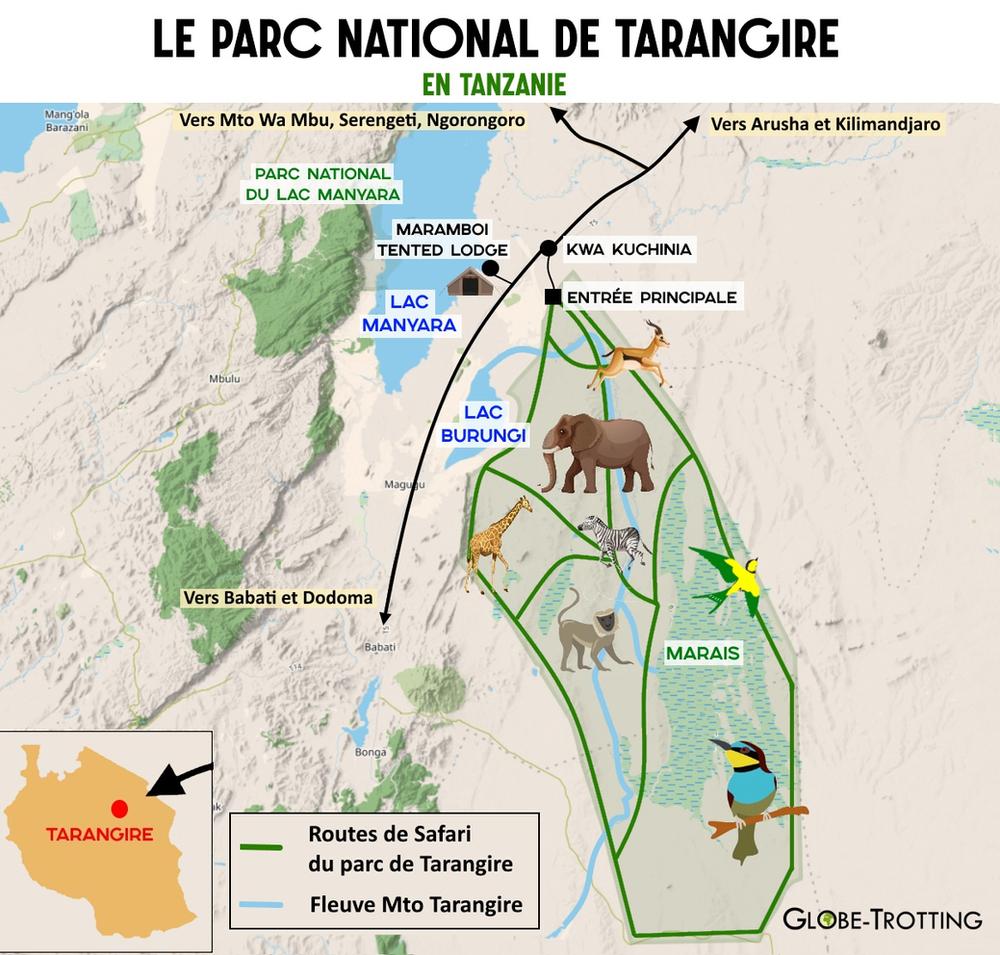 Plan du parc national de Tarangire