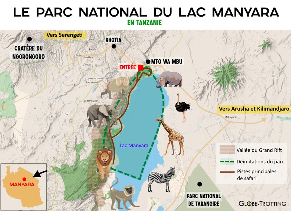 plan du parc national du lac Manyara