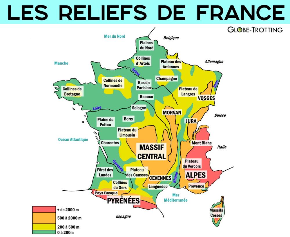 Carte reliefs de France