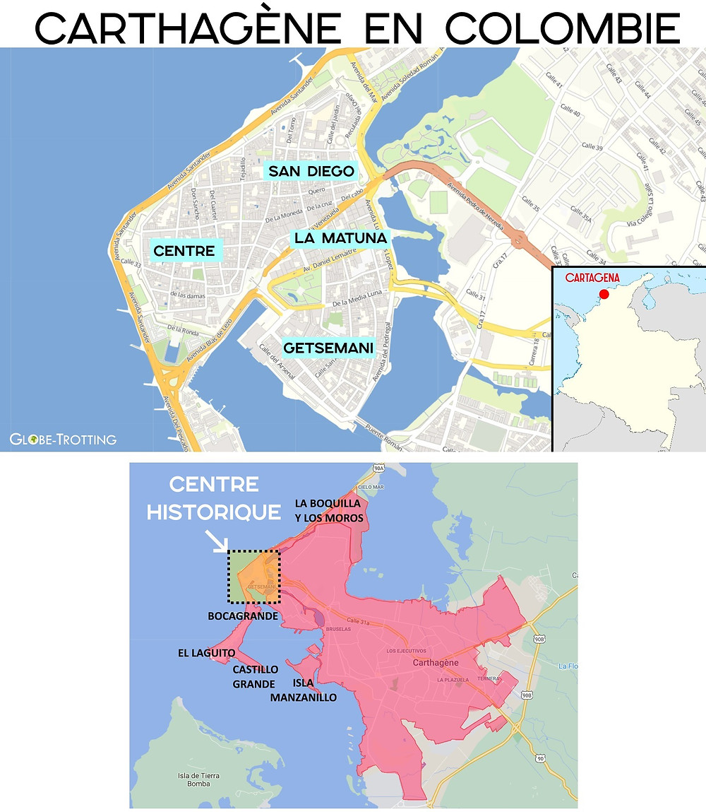 Plan carthagène colombie quartiers