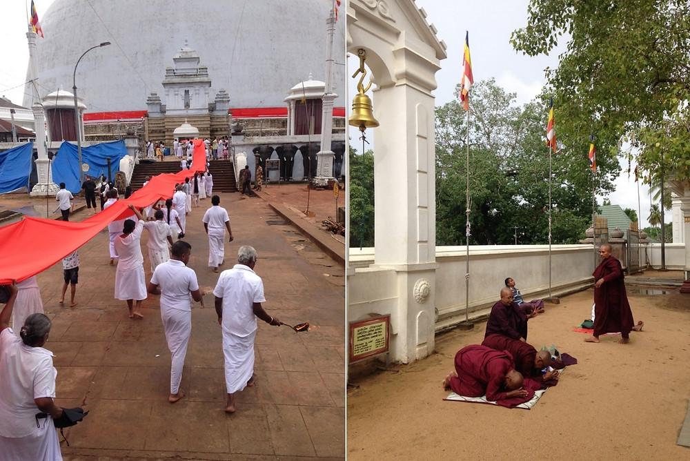 offrande ruban stuppa Nous assistons à l'offrrande d'un immense ruban rouge pour entourer la stuppa anuradhapura