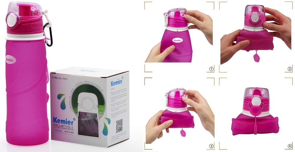 bouteille pliable de voyage rose