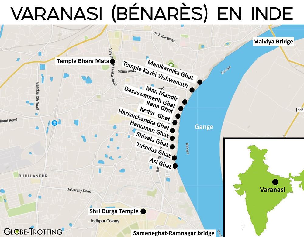 plan de la ville de Varanasi