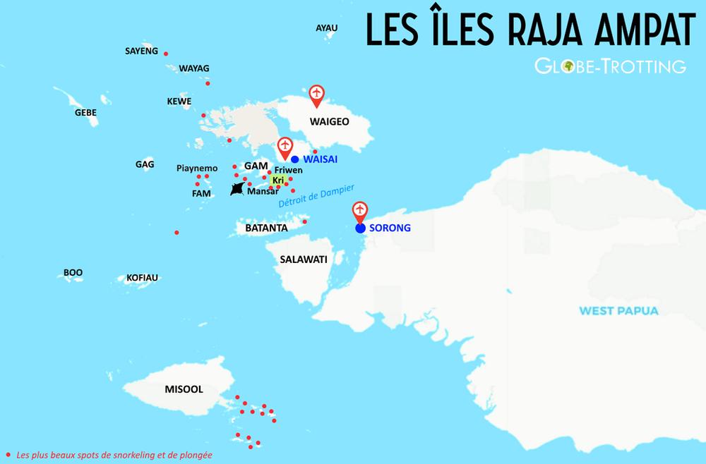 Raja Ampat carte plongées îles