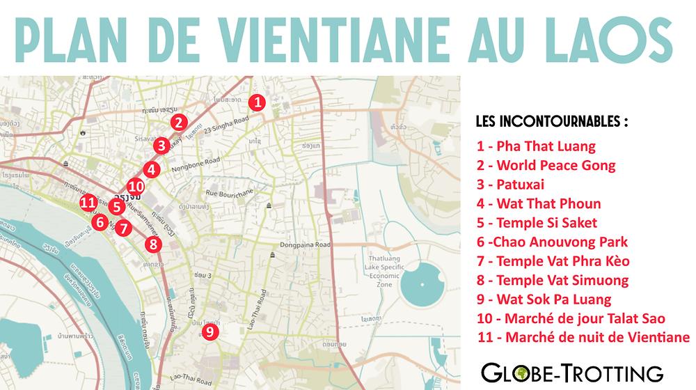 Plan carte Vientiane Laos