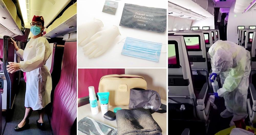 Hygiène covid avion Qatar Airways