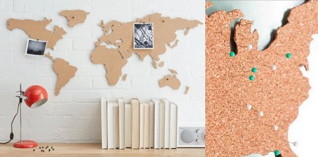 une carte du monde murale en liege globe trotting le. Black Bedroom Furniture Sets. Home Design Ideas