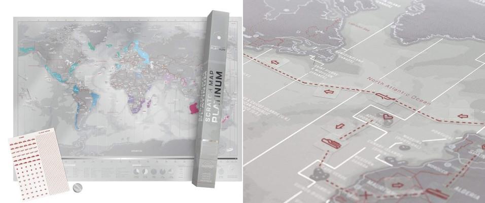carte monde gratter avec autocollants