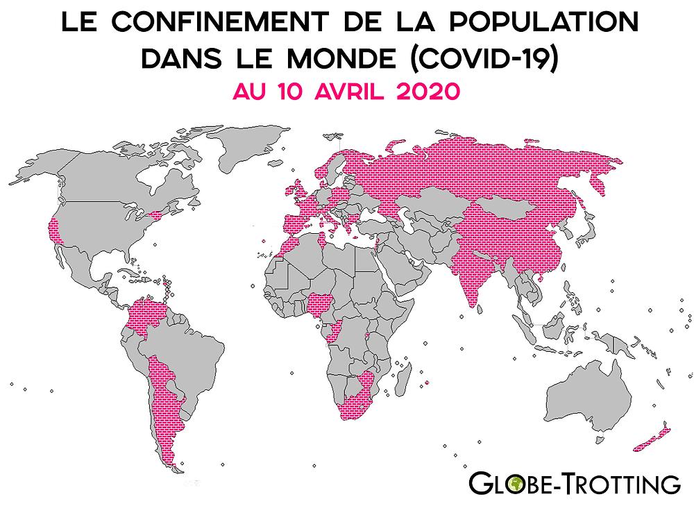 Carte des Pays du Monde en Confinement Coronavirus
