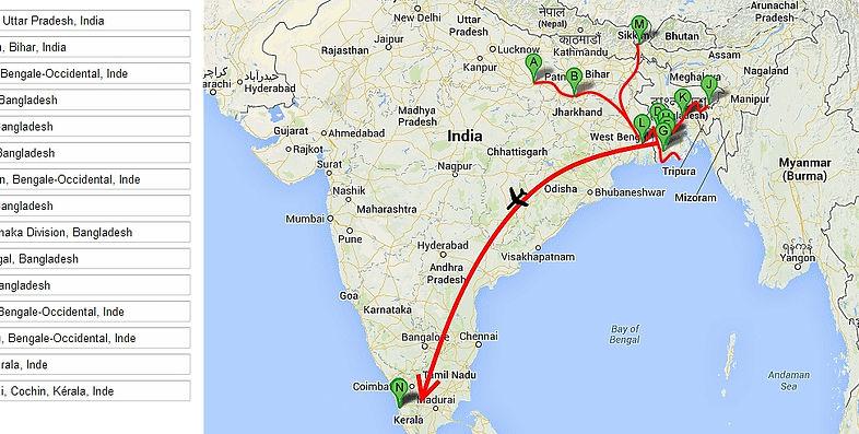 Carte De Notre Itineraire En Inde Et Au Bangladesh