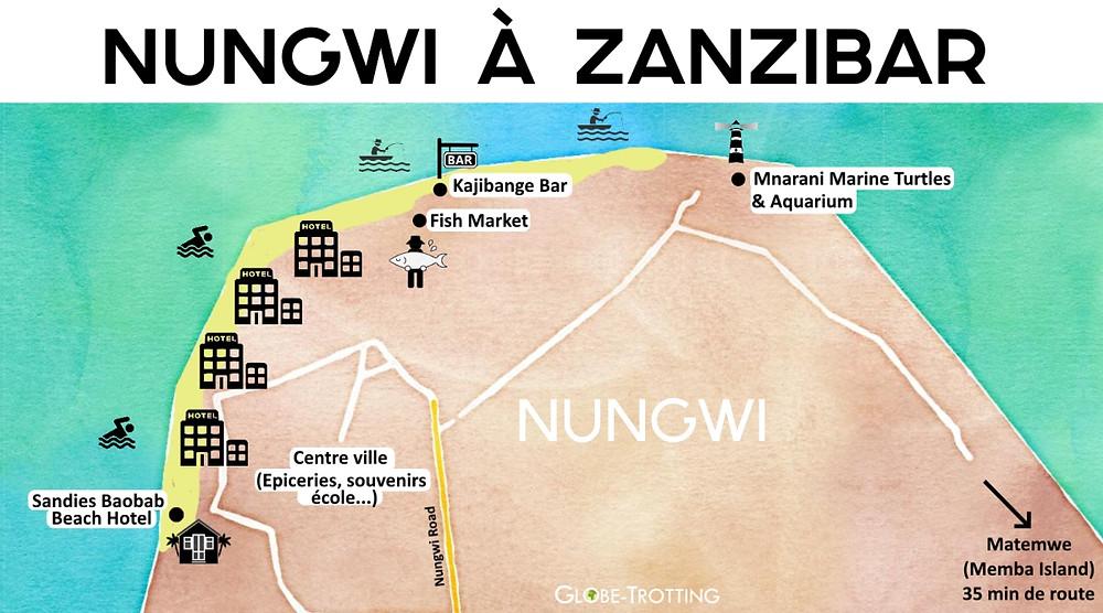 Plan Map Nungwi Zanibar