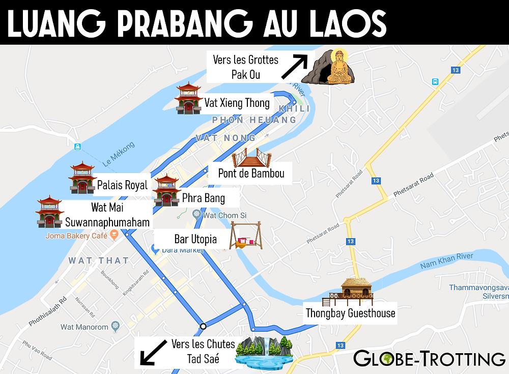 carte plan touristique de Luang Prabang