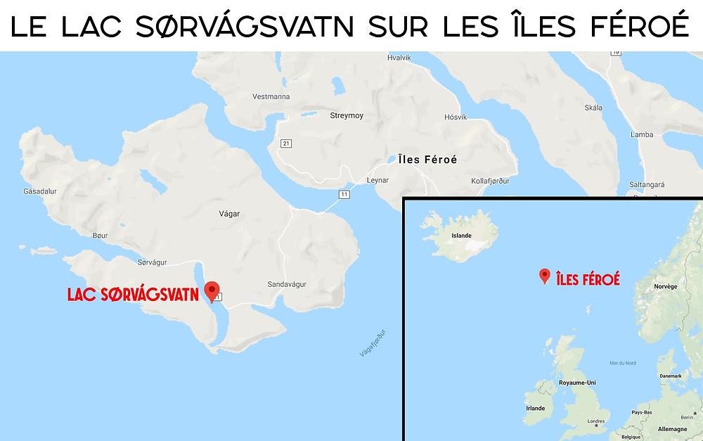 Carte Lac Sørvágsvatn sur les îles Féroé