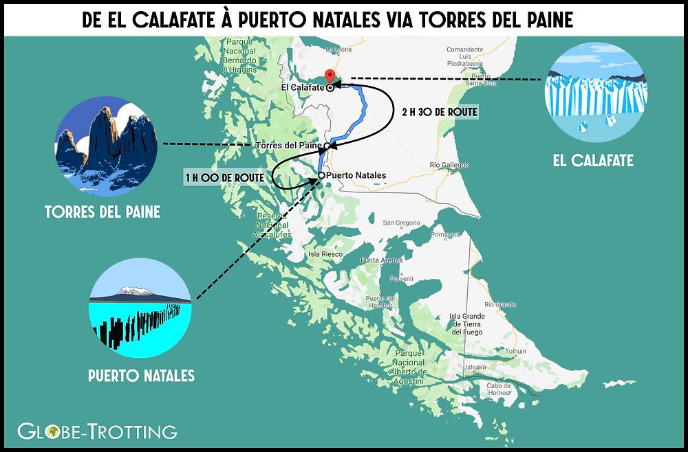Calafate Torres del paine puerto natales carte trajet