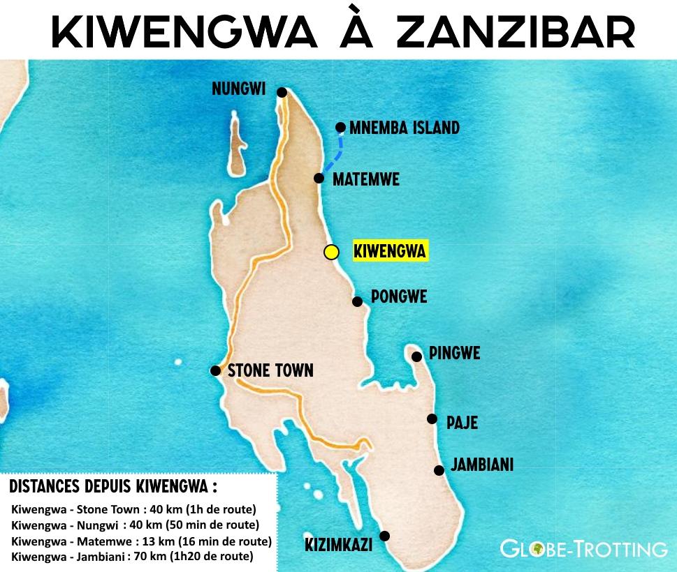 Carte Kiwengwa zanzibar