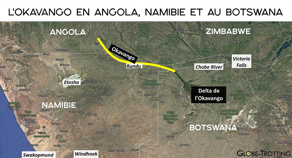 Carte fleuve okavango