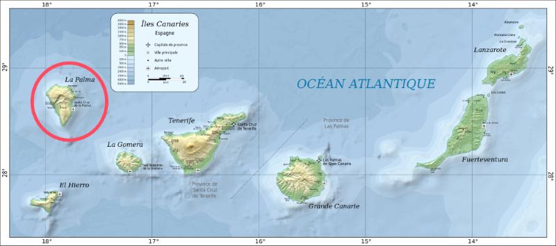 carte île de Palma aux Canaries