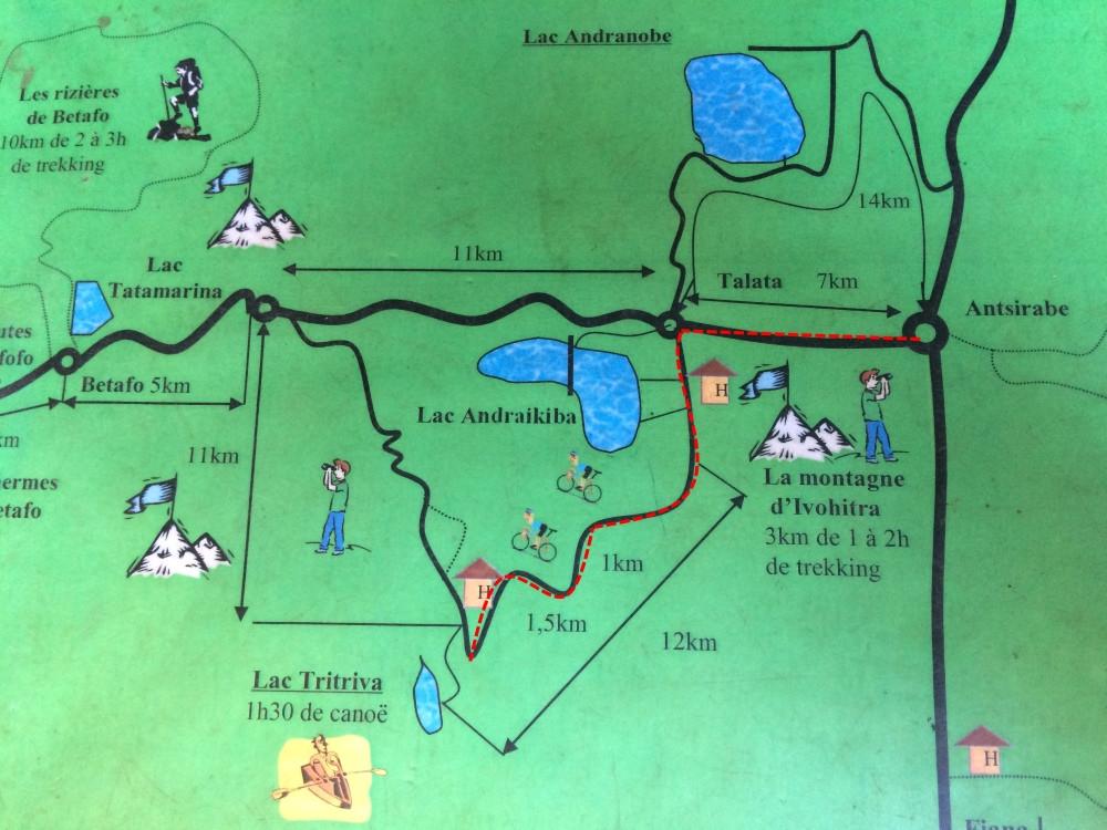 Lac Tritriva Madagascar carte randonnées