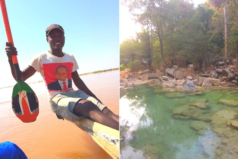 Pirogue Madagascar eau bleue