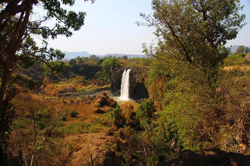 chutes du Nil Bleu en Ethiopie saison sèche