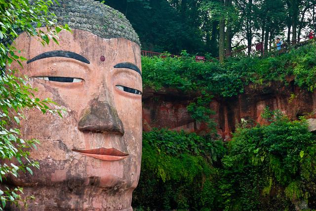 Grand Buddha de Leshan en Chine  visage