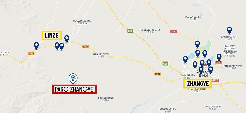 Carte Où loger Monts Danxia du parc Zhangye