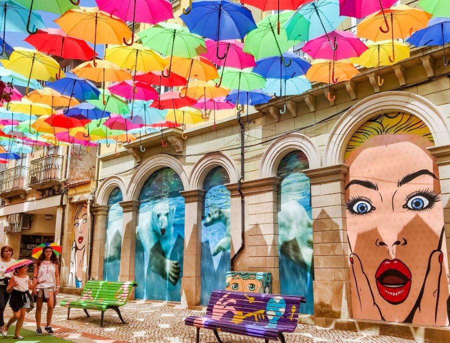 portugal parapluies rues
