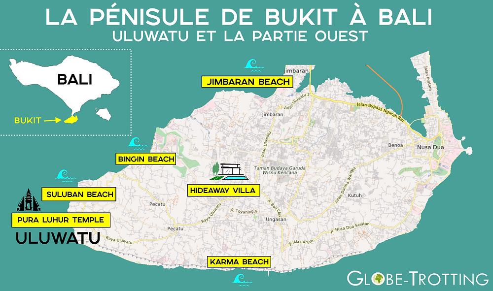 Carte péninsule Bukit Bali