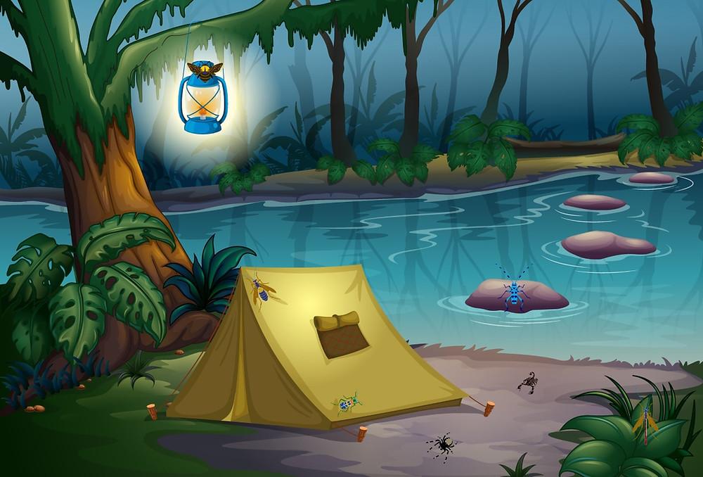 insectes en voyage camping forêt
