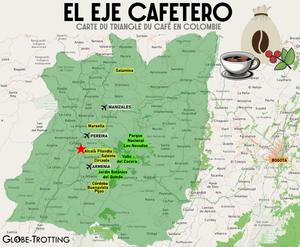 Carte zone triangle du café Colombie