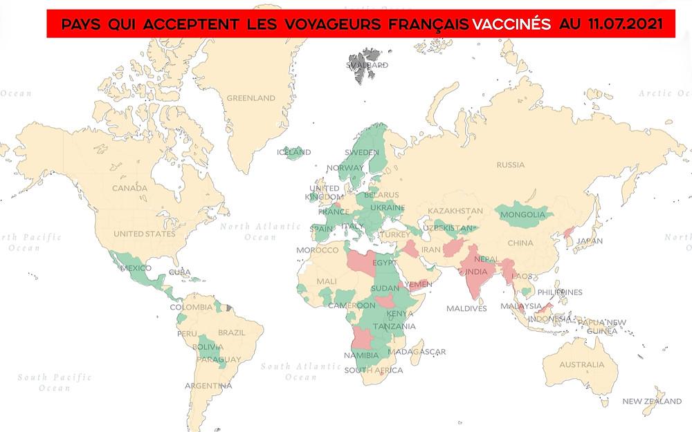 Carte monde voyages covid Français vaccinés
