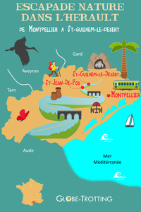 Carte touristique Montpellier St Guilhem le désert