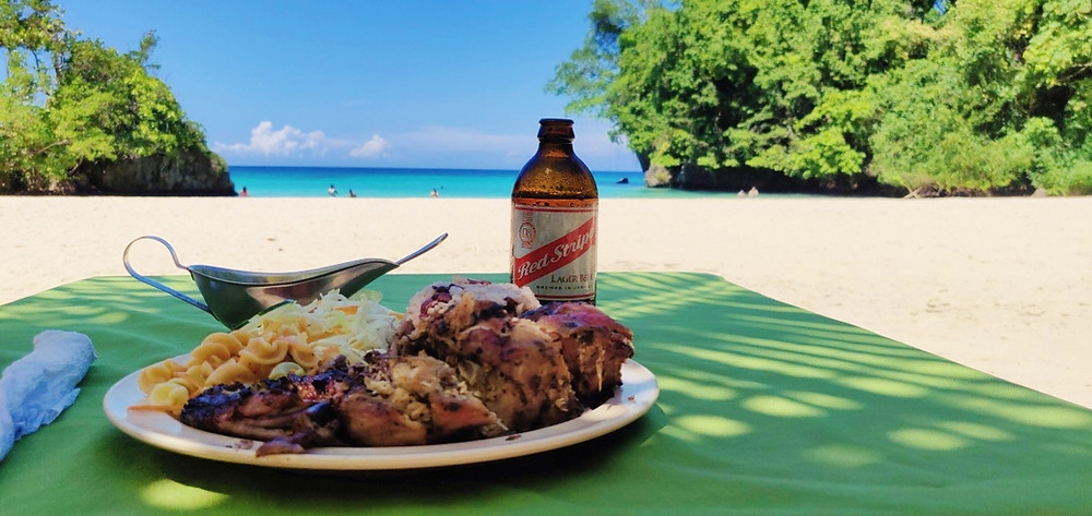 Jerk Chicken Red stripe plage Jamaique