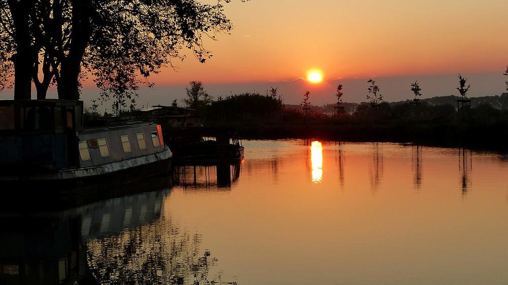 Le Canal du Midi coucher de soleil
