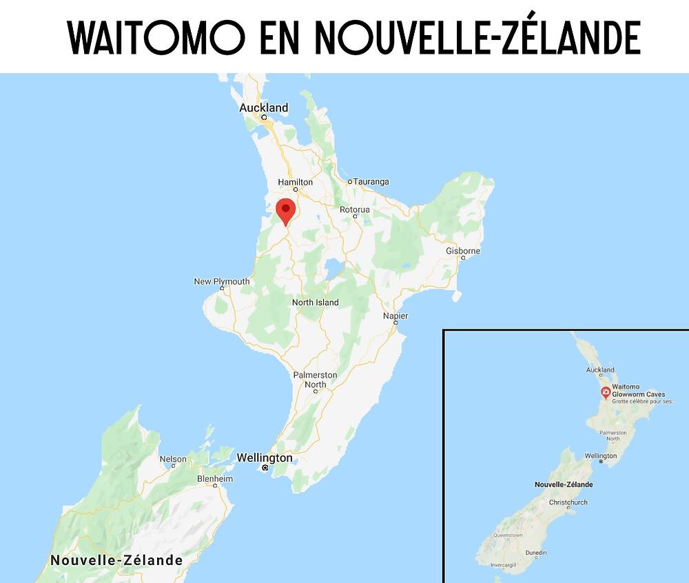 Carte Waitomo nouvelle zélande grotte