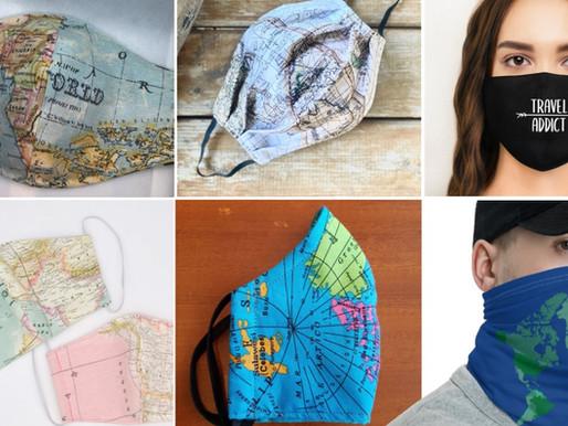 Les Masques en tissu motif Carte du Monde
