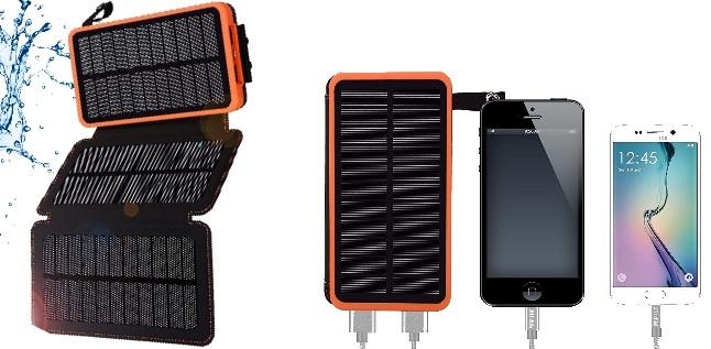 batterie externe voyage étanche solaire 12 000 mah