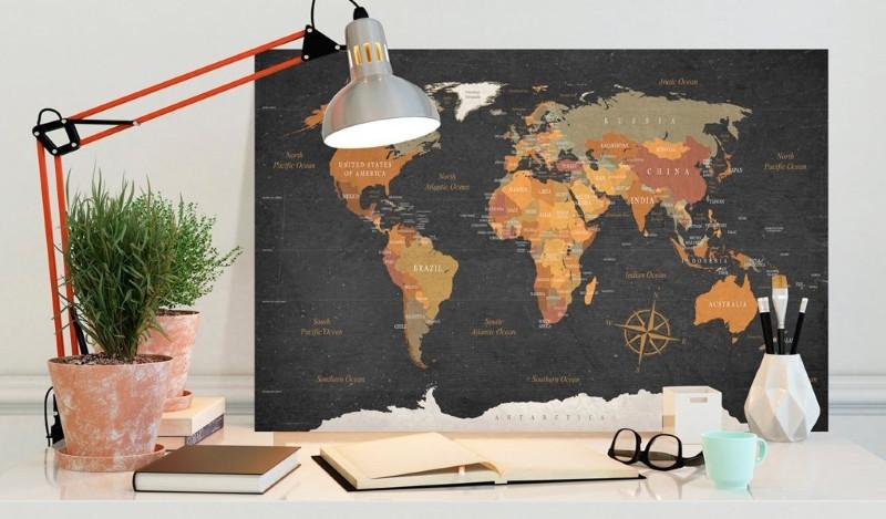 Carte du Monde liège couleurs fond noir