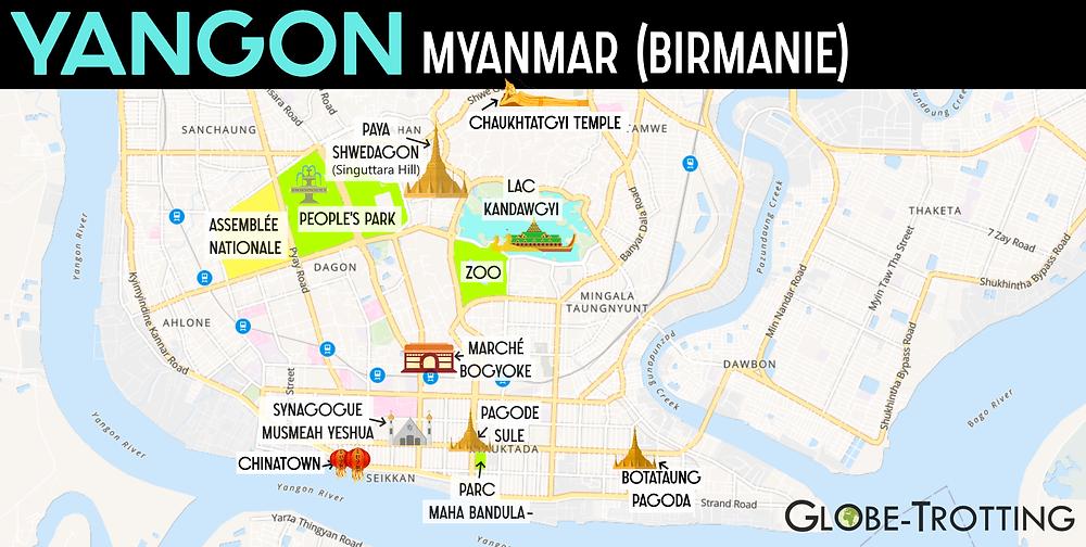 Plan Carte Yangon Myanmar Birmanie