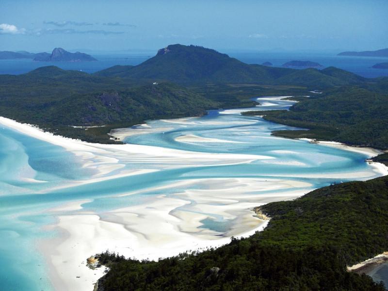 La plage du Paradis Blanc en Australie helicoptère