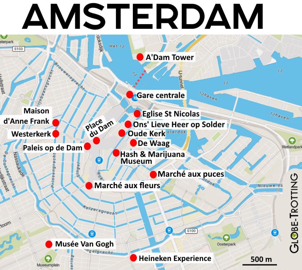 Plan touristique d'Amsterdam