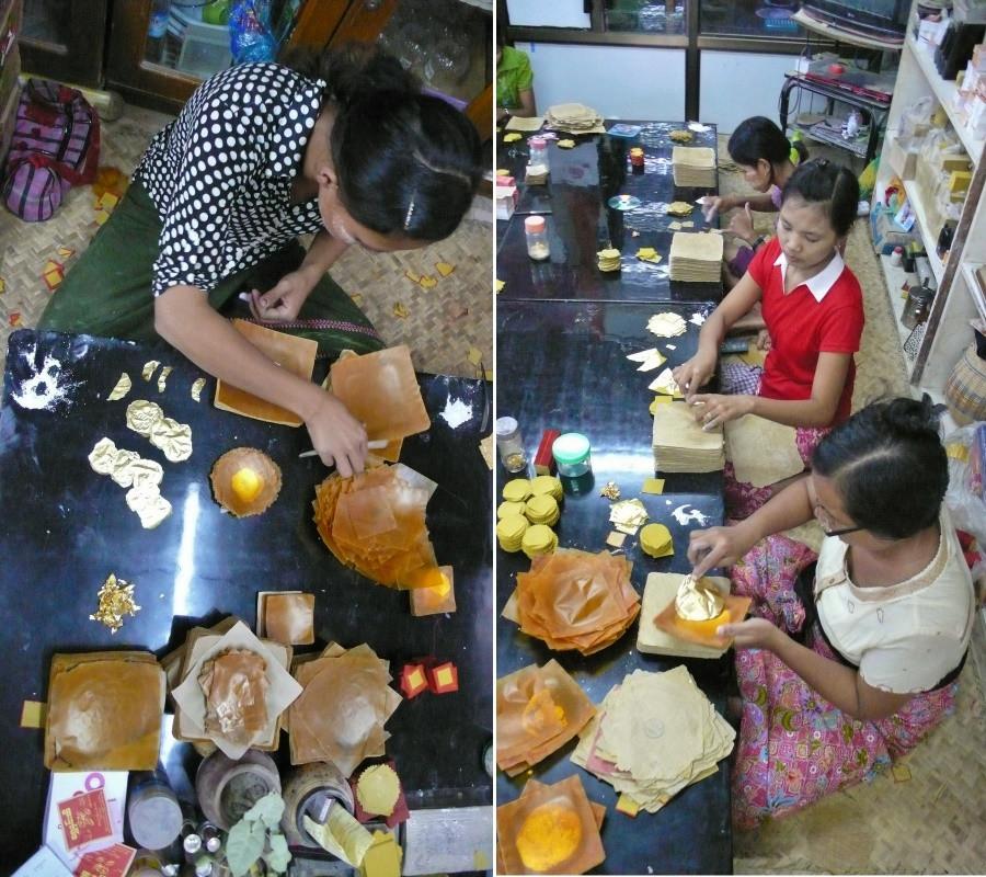 feuilles d'or birmanie fabrique